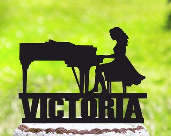 Grand Piano Cake Topper,Pianist Cake Topper,Personalized Cake Topper,Piano Cake Topper,Woman Play Piano,Pianist Party,Grand Piano decor 2110