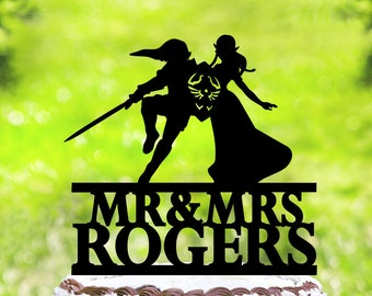 Link and Zelda cake topper,wedding cake topper,Zelda Cake Topper,Link Cake Topper,personalized wedding Cake Topper,Funny Cake Topper (2175)