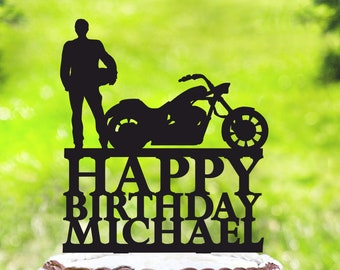 Motorcycle Cake TopperBiker TopperSilhouette Motorcyclebirthday Biker TopperMotorcycle Birthday TopperHarley Davidson 2265