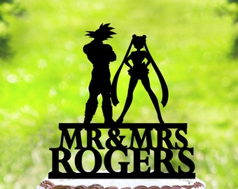 Wedding Cake Topper,Sailor Moon & Goku Cake Topper,Silhouette Cake Topper,Mr And Mrs Cake Topper (2158)