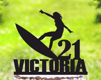 Surfer birthday Cake Topper,Customizable Cake Topper,Surfing Cake Topper,Silhouette surfer Cake Topper,Personalized surfer cake topper 2075