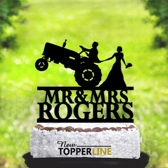 Tractor Wedding Cake Topperfarmer Wedding Cake Topperrustic Etsy