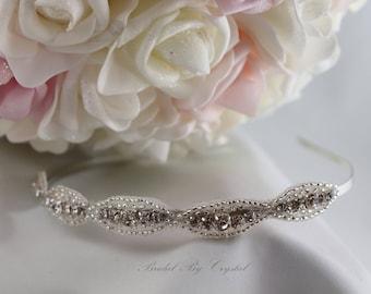 Rhinestone Bridal Headband, Bridal Headpiece, Rhinestone Hair Accessory, Rhinestone Wedding Hair Piece, Rhinestone Weddng Headband