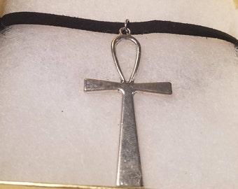 Silver Egyptian Ankh Choker Necklace