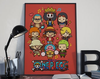 One Piece Wall Art, Monkey D Luffy Poster, One Piece Luffy, One Piece Manga, One Piece Art, One Piece Decor, Anime Poster, One Piece Chibi