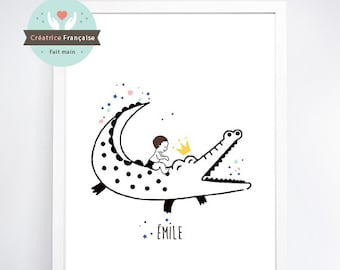 Crocodile print - Name-child (sold without frame)