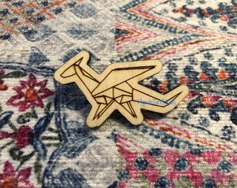Hyruletart Origami Dragon Logo Wood Pin