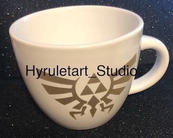 Legend of Zelda Mug, Gold Decal, White
