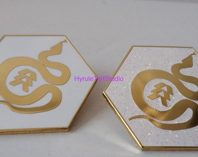 Light-bearer Snake Logo, Gold Hard Enamel Pin Gloss or Glitter