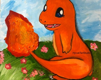 Charmander Acrylic Painting on wood panel