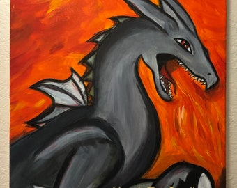 Fire Dragon, Acrylic Painting