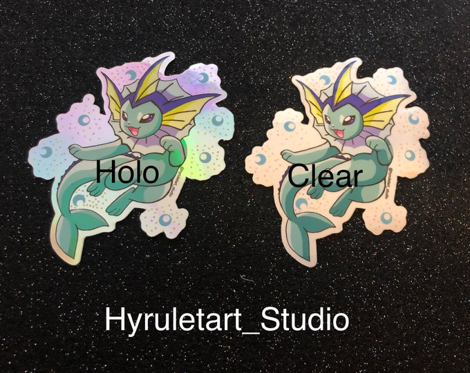 Vaporeon Stickers, Clear or Holo