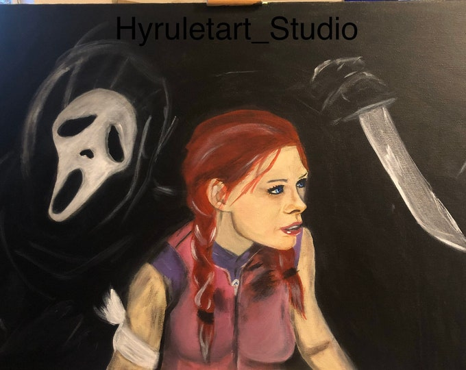 Ghostface and Meg Thomas, Acrylic Painting 18x24 Inches, Dead by Daylight Fanart