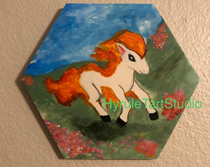 Ponyta, the Fire Horse, Painting on wood panel