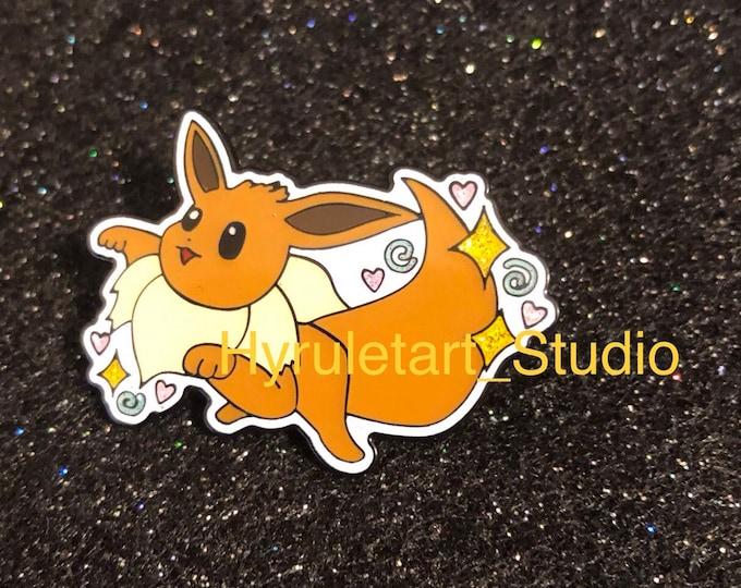 Derpy Eevee Glitter Pin