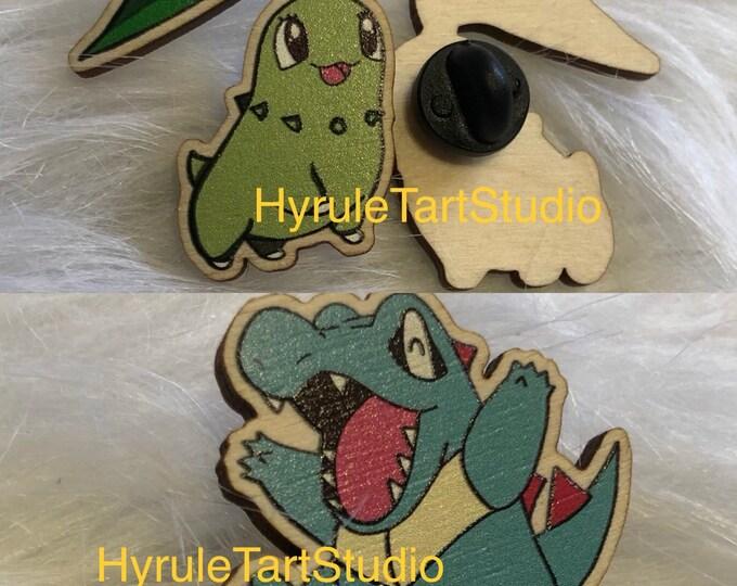 Cyndaquil Chikorita and Totodile Wood Pins