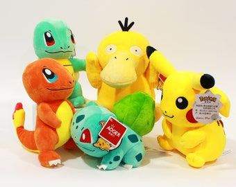 Pocket Monster Stuffed Animals: Charmander Pikachu and Bulbasaur