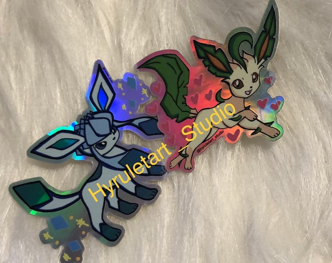 Leafeon and Glaceon Holographic Stickers