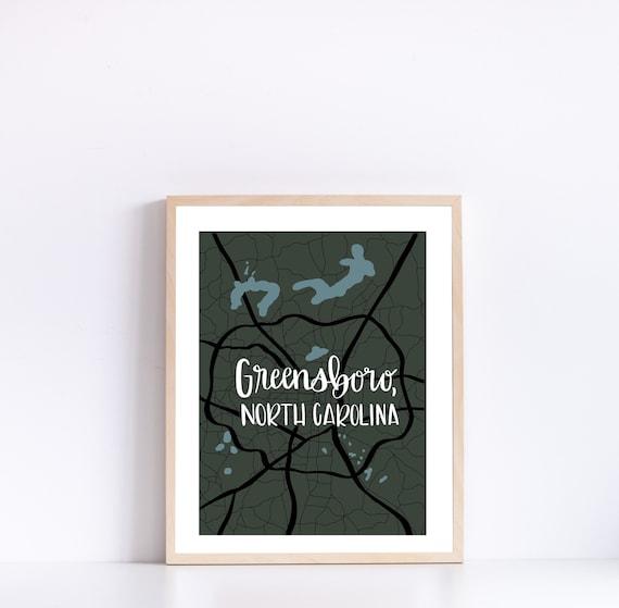 Map Art North Carolina- Map Print Map Print Greensboro Map Art Custom Map Housewarming Gift Wedding Gift Home Map Home Decor