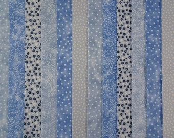 25 JELLY ROLL STRIPS 100/% COTTON PATCHWORK FABRIC BLUE LAGOON 22 INCH LONG