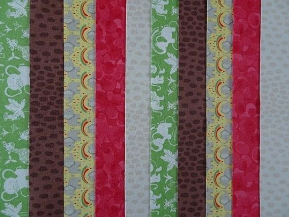 20 JELLY ROLL STRIPS COTTON PATCHWORK FABRIC FARMYARD GREEN 22 INCH LONG