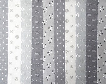 20 Jelly Roll Strips 100% Cotton Patchwork Fabric x 22 inch long - Grey 2