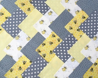 30 x 5 Inch Squares Cotton Patchwork Fabric Charm Pack - Grey/Lemon Bee