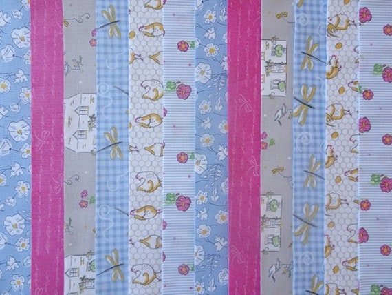 20 JELLY ROLL STRIPS 100/% COTTON PATCHWORK FABRIC ENGLISH GARDEN 22 INCH