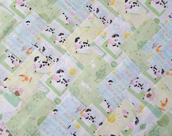 30 x 5 Inch Squares Cotton Patchwork Fabric Charm Pack - Playful Farm