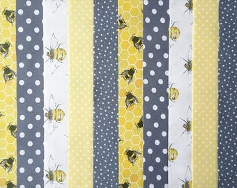 20 Jelly Roll Strips Cotton Patchwork Fabric x 22 inch long - Grey/Lemon Bee