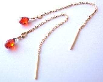 18k Gold, Natural Carnelian Threader Earrings(Free Shipping)
