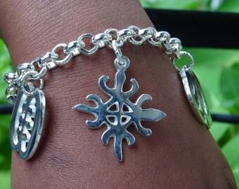 Adinkra Silvertone Charm Bracelet