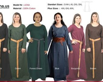 LENA : Cotton Underdress >  Medieval Underdress, Viking dress woman, Viking dress, Cotton medieval dress, Underdress