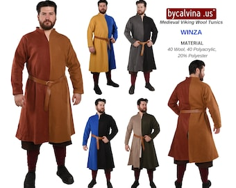 VINZA WOOL - Medieval, Larp and Viking Reenactment Wool Tunic by bycalvina.us