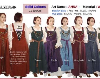 ANNA Wool :Medieval Viking Wool apron dress, Over dress, Apron dress, Woolen Hangerock, Norse,