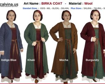 BIRKA COAT – Medieval Viking  Women Woolen Coat  made by bycalvina.us