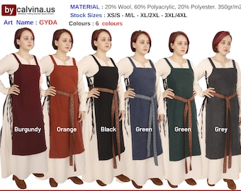 GYDA wool - Medieval Viking Wool apron dress, Over dress, Apron dress, Woolen Hangerock, Norse, Reenactment