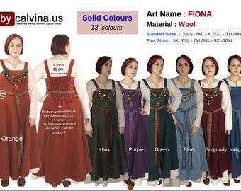 FIONA wool - Medieval Viking Wool apron dress, Over dress, Apron dress, Woolen Hangerock, Norse, Reenactment