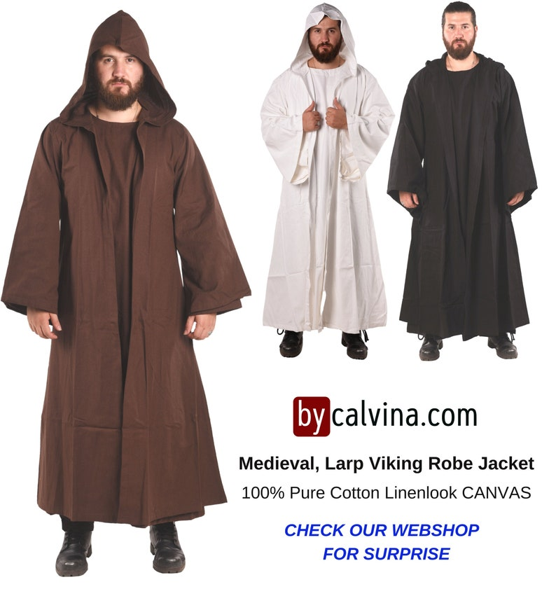 bycalvina  Medieval Larp & Viking Hooded Black Robe  MERLIN image 0