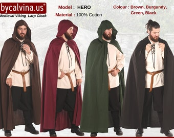 HERO Cotton -  Medieval Viking Renaissance Hooded COTTON CANVAS Cloak Made in Turkey by bycalvina.com