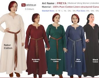 FREYA Cotton - Medieval Underdress, Viking dress woman, Viking dress, Cotton medieval dress, Underdress