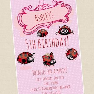 5 X Personalised Rainbow Ladybird PARTY INVITATIONS Stationary