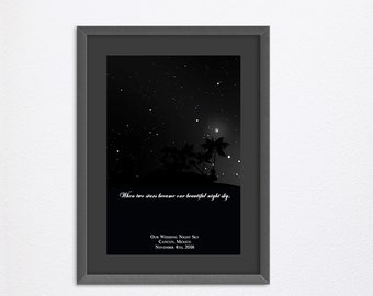 Custom Star Map By Date Of The Night Sky - Personalized Sky Map - Customized Star Map By Date - Night Sky Map Poster Print - Night Sky Print