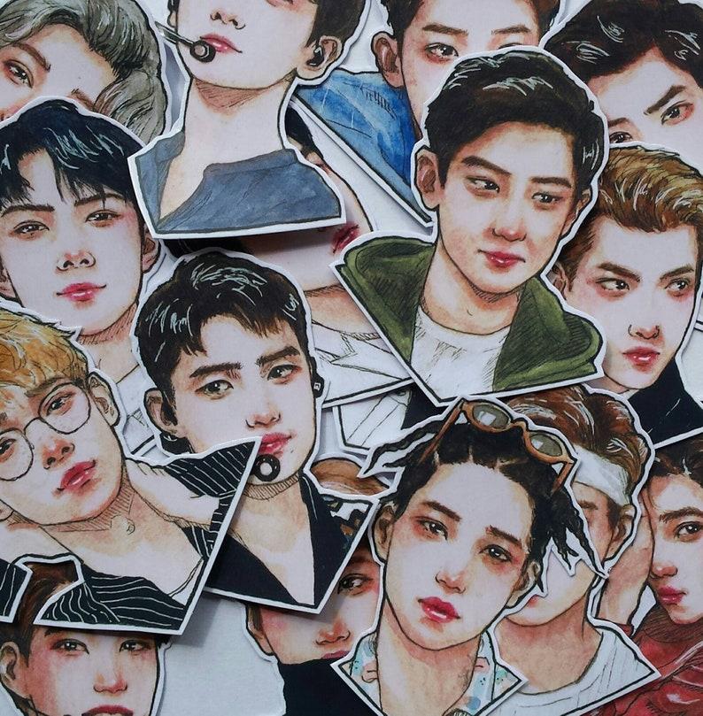 Kpop Stickers Set Exo Bujo Kai Sticker Korea Exol Koko Bop Etsy