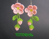 Beading tutorial,how to make gentle dangling beaded earrings with flower Japanese sakura,diy beadwork pink flowers cherry blossom
