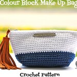 Colour Block Make Up Bag Crochet Pattern - PDF Instant Download