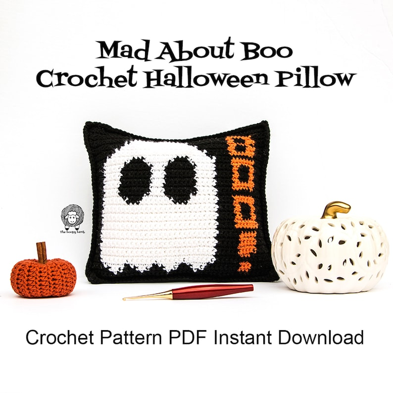 Mad About Boo Crochet Halloween Pillow  Crochet Pattern PDF image 0