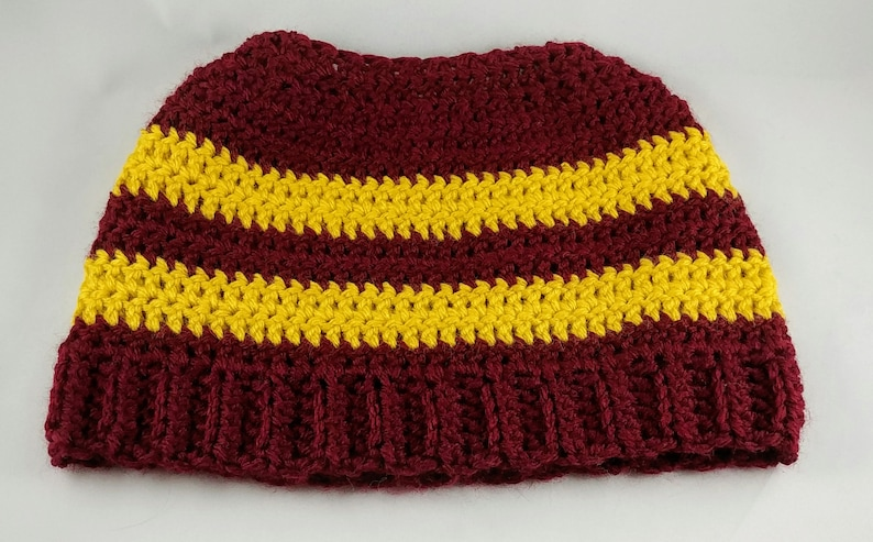 323981bc15f Harry Potter Messy Bun Hat Ponytail Hat Gryffindor Hat
