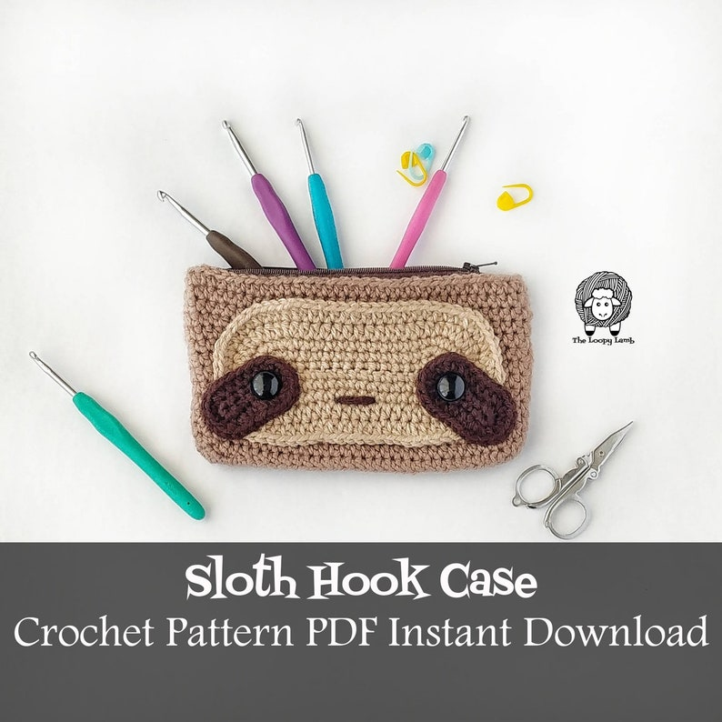 Sloth Hook Case Crochet Pattern Instant Download  Sloth image 0