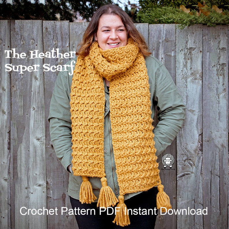 The Heather Super Scarf  Crochet Pattern PDF Instant Download image 0